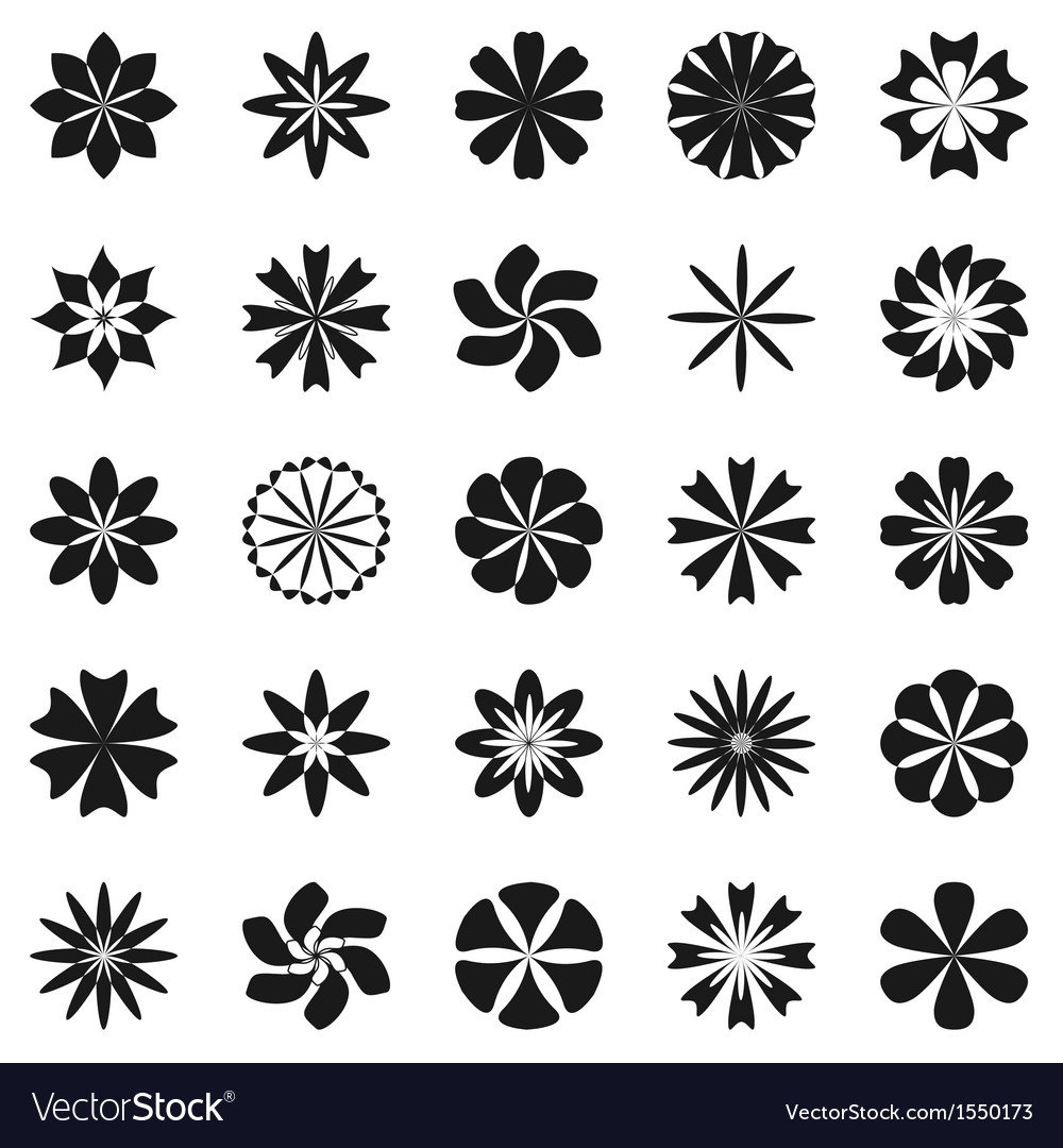 Flower symbol set vector | Price: 1 Credit (USD $1)
