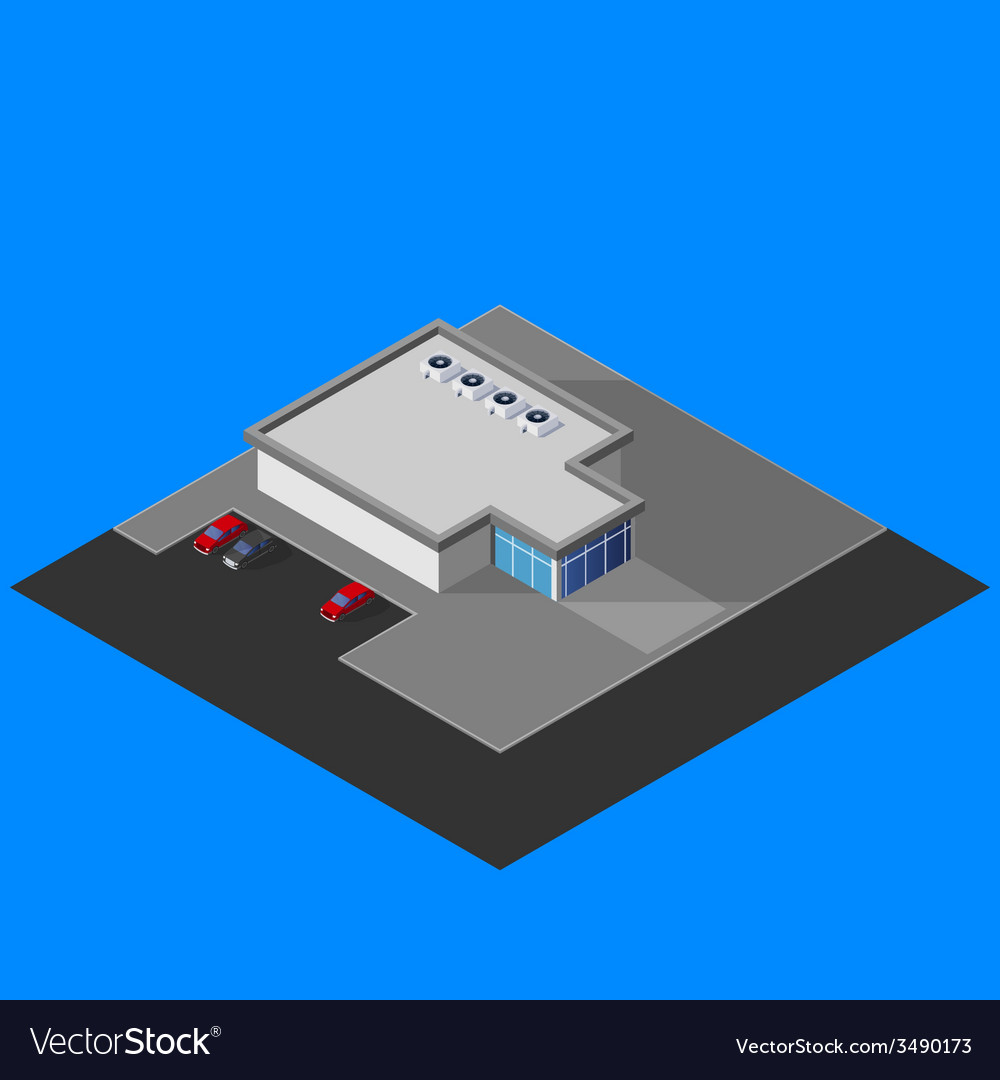 Isometric supermarket building vector | Price: 1 Credit (USD $1)