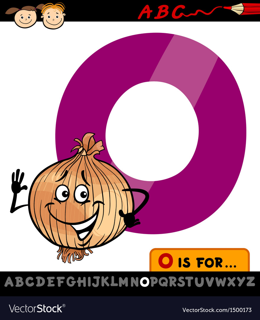 Letter o with onion cartoon vector | Price: 1 Credit (USD $1)
