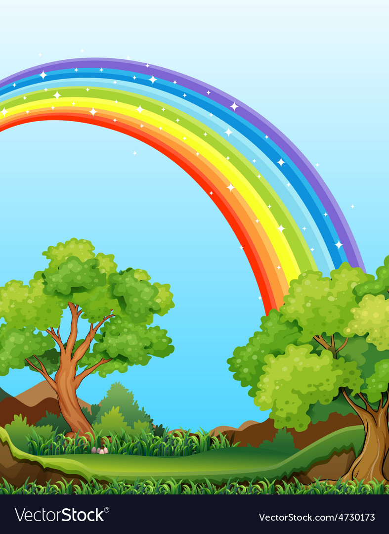 Rainbow and field vector | Price: 5 Credit (USD $5)