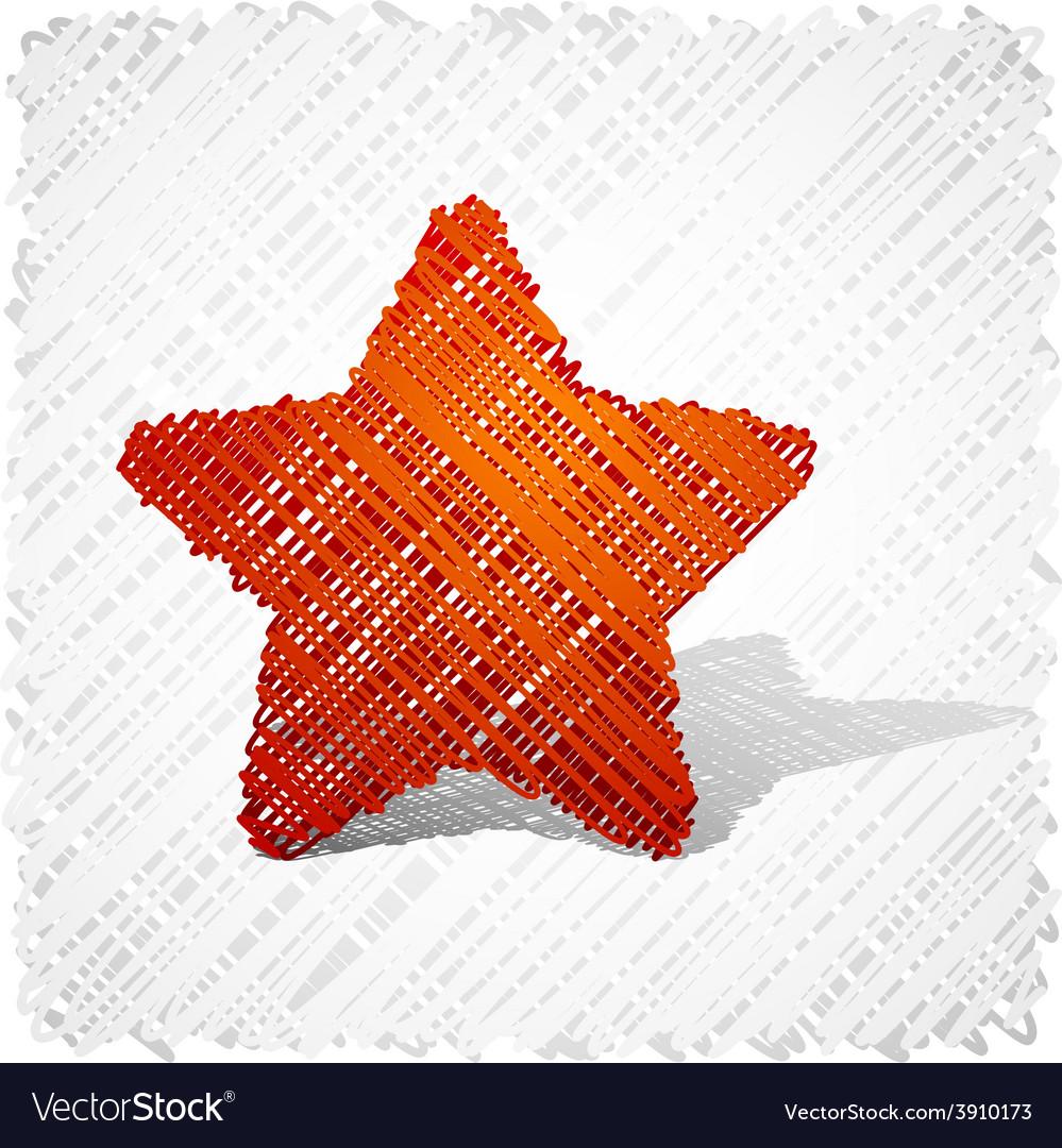 Scribbled orange five-star vector | Price: 1 Credit (USD $1)