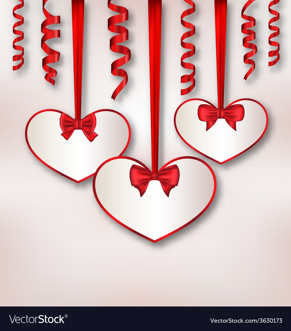 Set card heart shaped with silk ribbon bows and vector | Price: 1 Credit (USD $1)