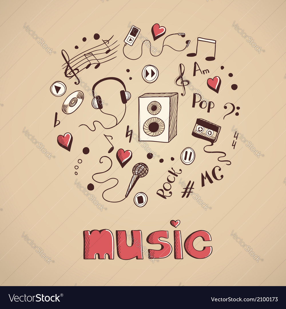 Sketch of music elements vector | Price: 1 Credit (USD $1)
