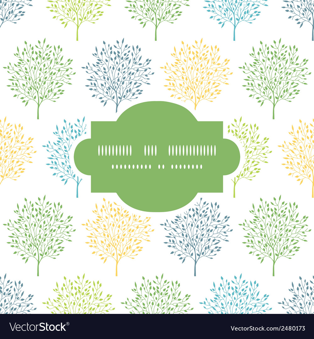 Summer trees colorful frame seamless pattern vector | Price: 1 Credit (USD $1)