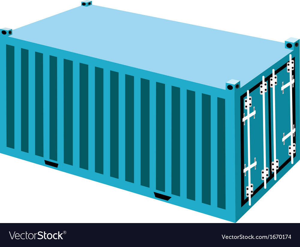 A light blue container cargo container on white ba vector | Price: 1 Credit (USD $1)