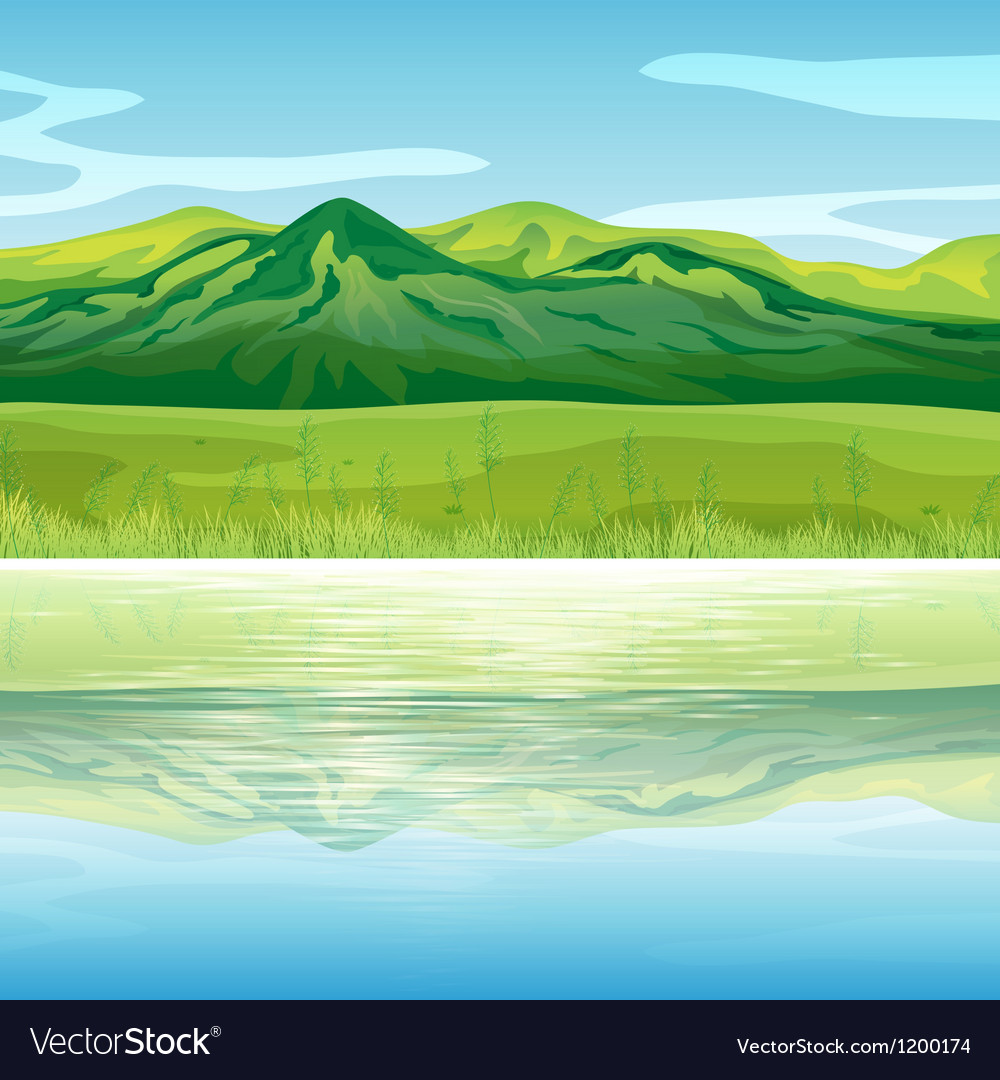 A mountain across the lake vector   Price: 1 Credit (USD $1)
