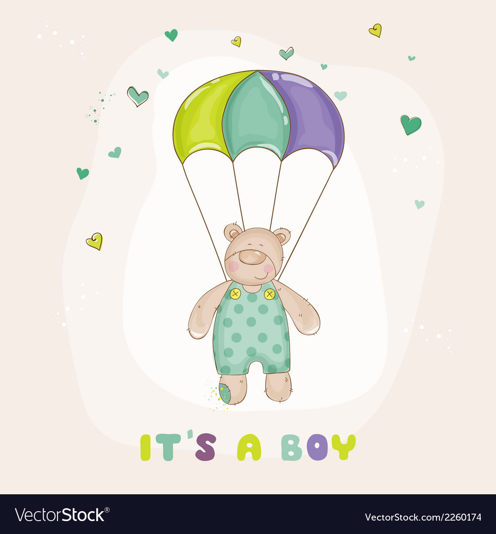 Baby bear on a horse - baby shower or arrival card vector | Price: 1 Credit (USD $1)