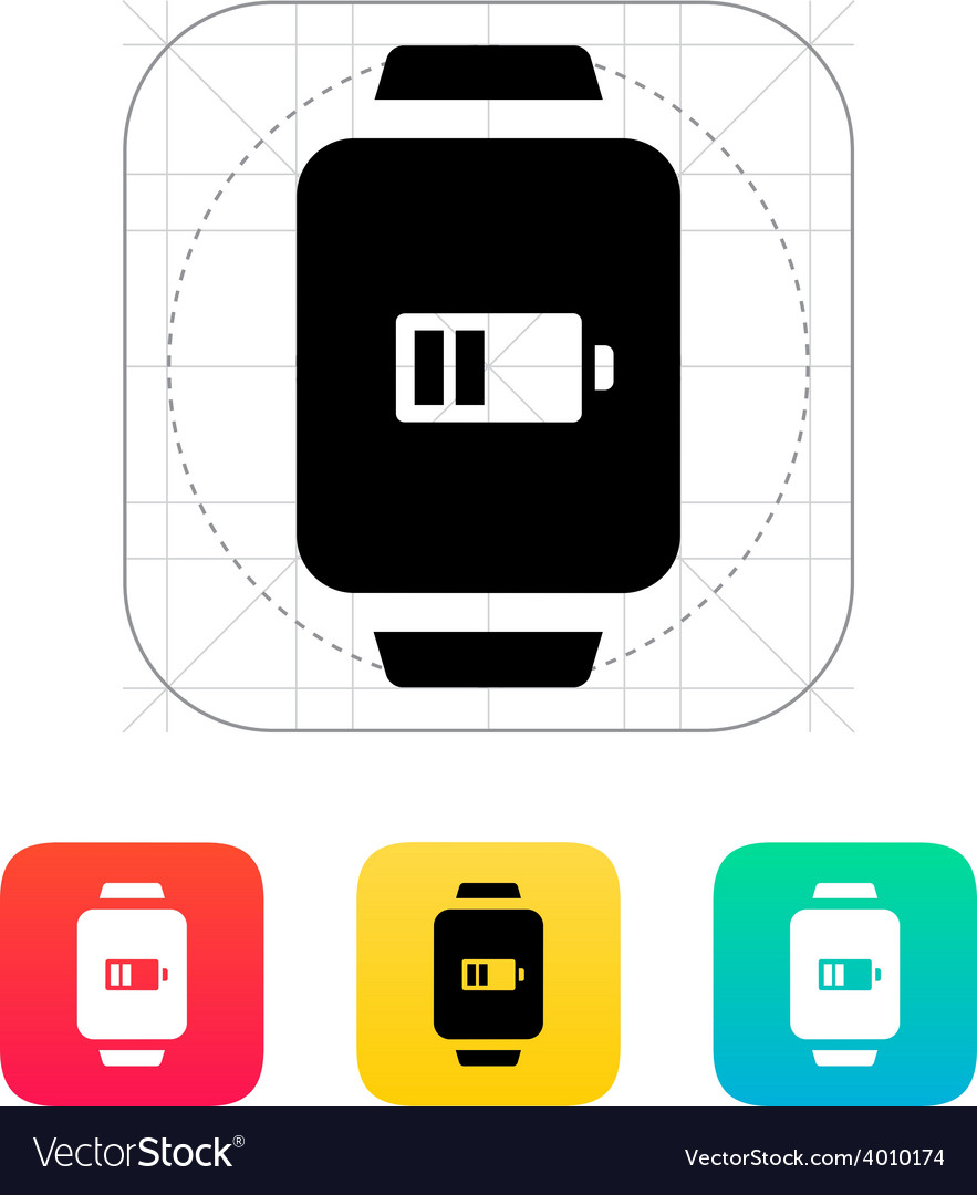 Battery charge in smart watch icon vector | Price: 1 Credit (USD $1)
