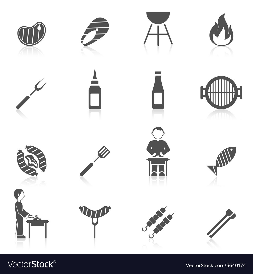 Bbq grill icon black vector | Price: 1 Credit (USD $1)