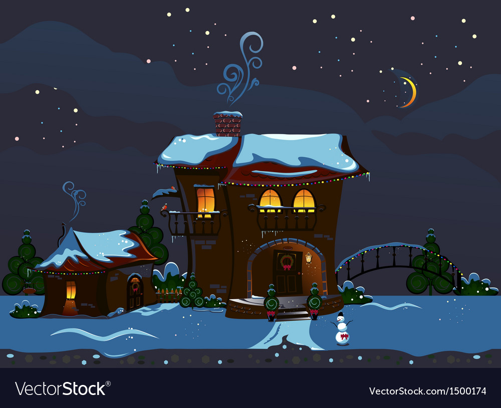 Christmas street vector | Price: 3 Credit (USD $3)