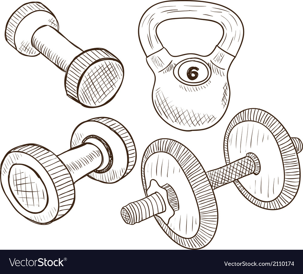 Dumbbells doodles vector | Price: 1 Credit (USD $1)