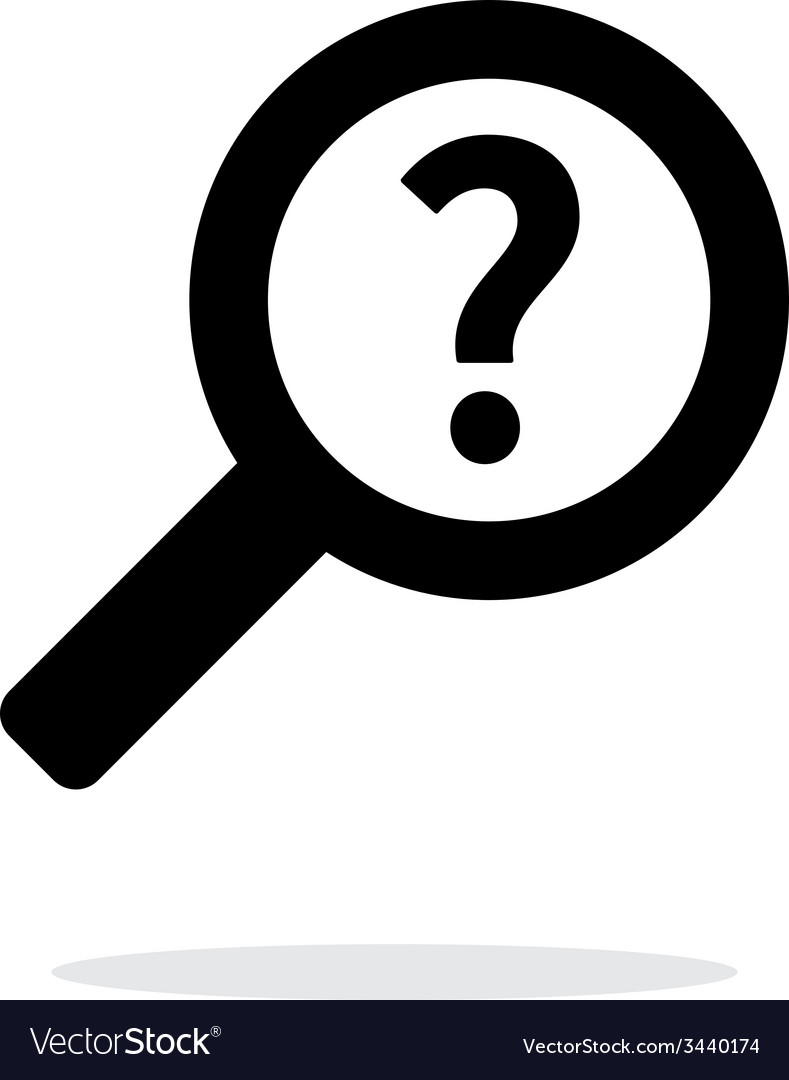 Help and faq search icon on white background vector | Price: 1 Credit (USD $1)