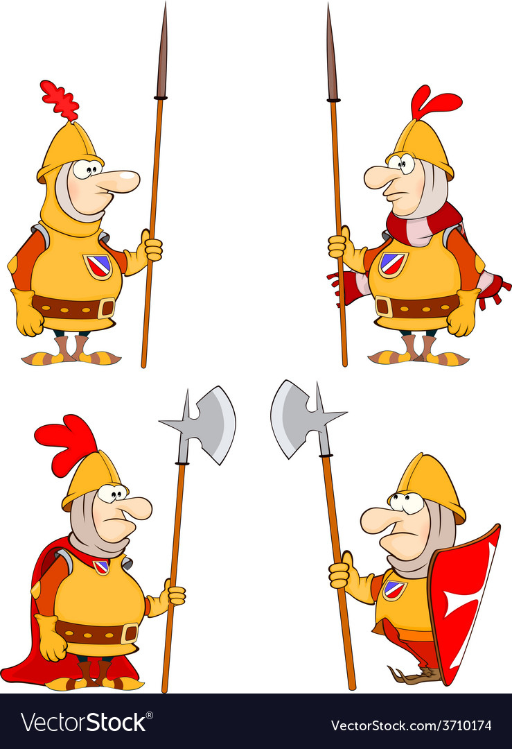 Humor cartoon knights set vector