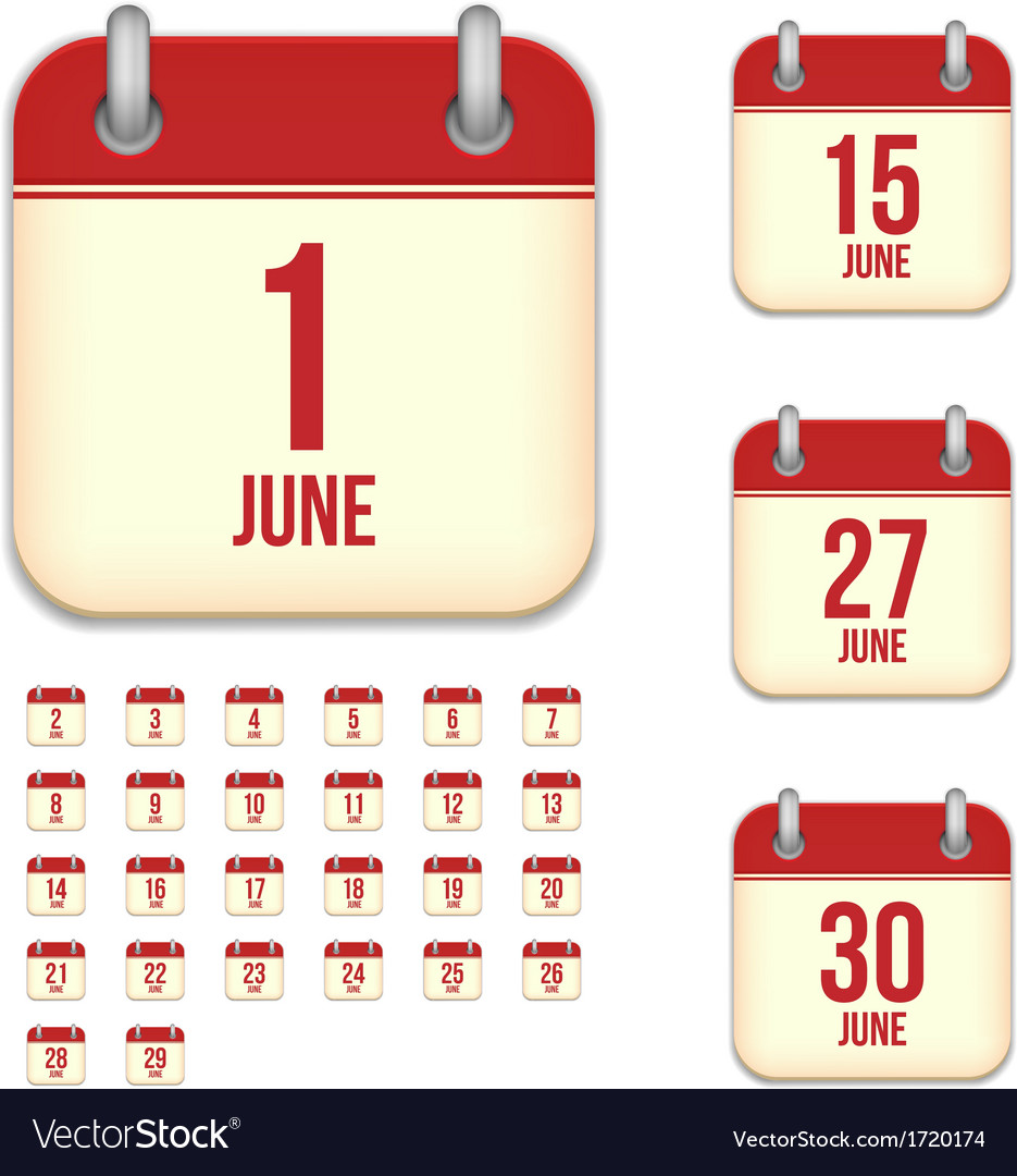 June calendar icons vector | Price: 1 Credit (USD $1)