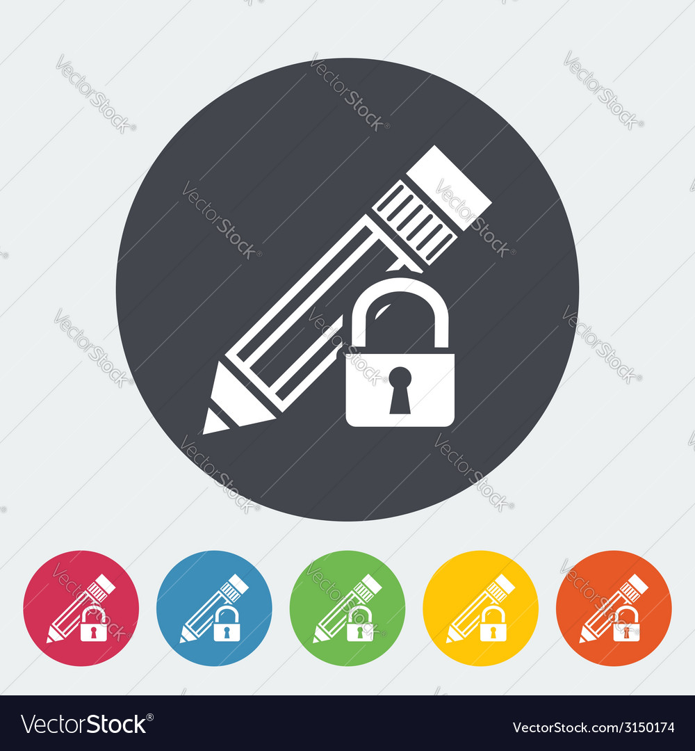 Lock for editing single icon vector | Price: 1 Credit (USD $1)