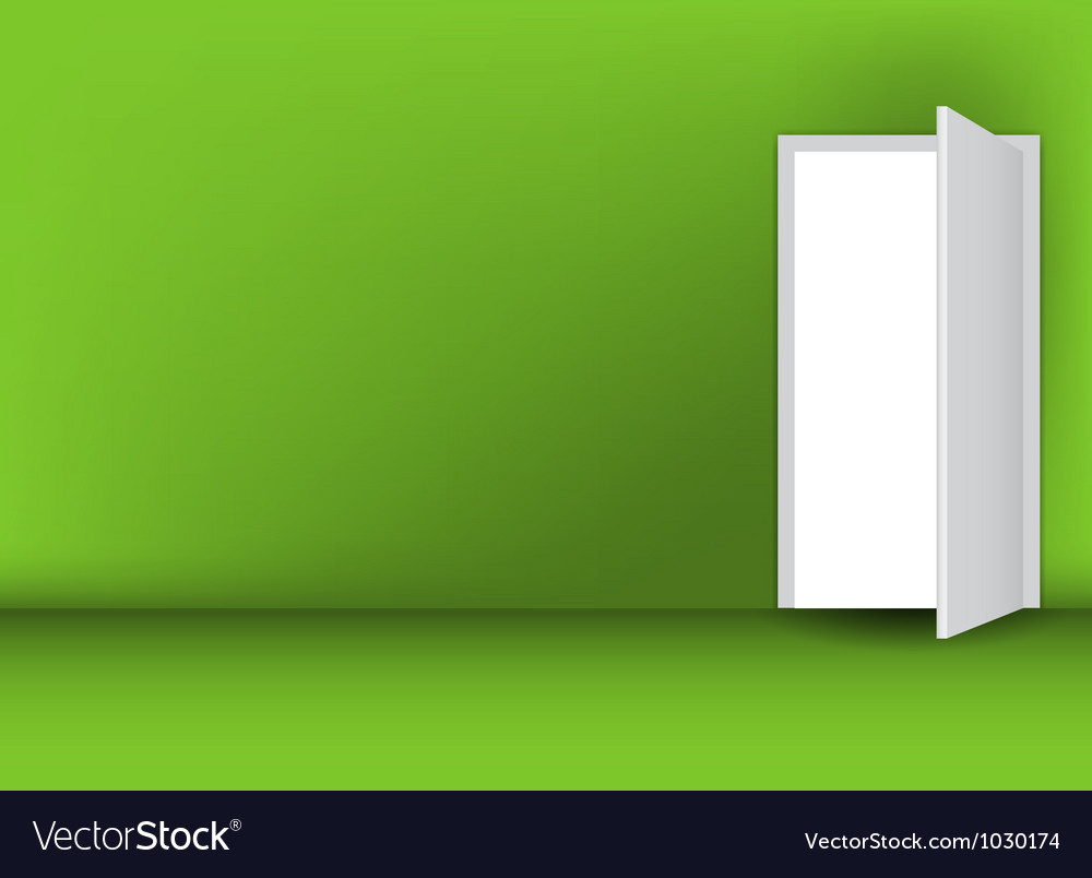 Open white door on a green wall vector | Price: 1 Credit (USD $1)