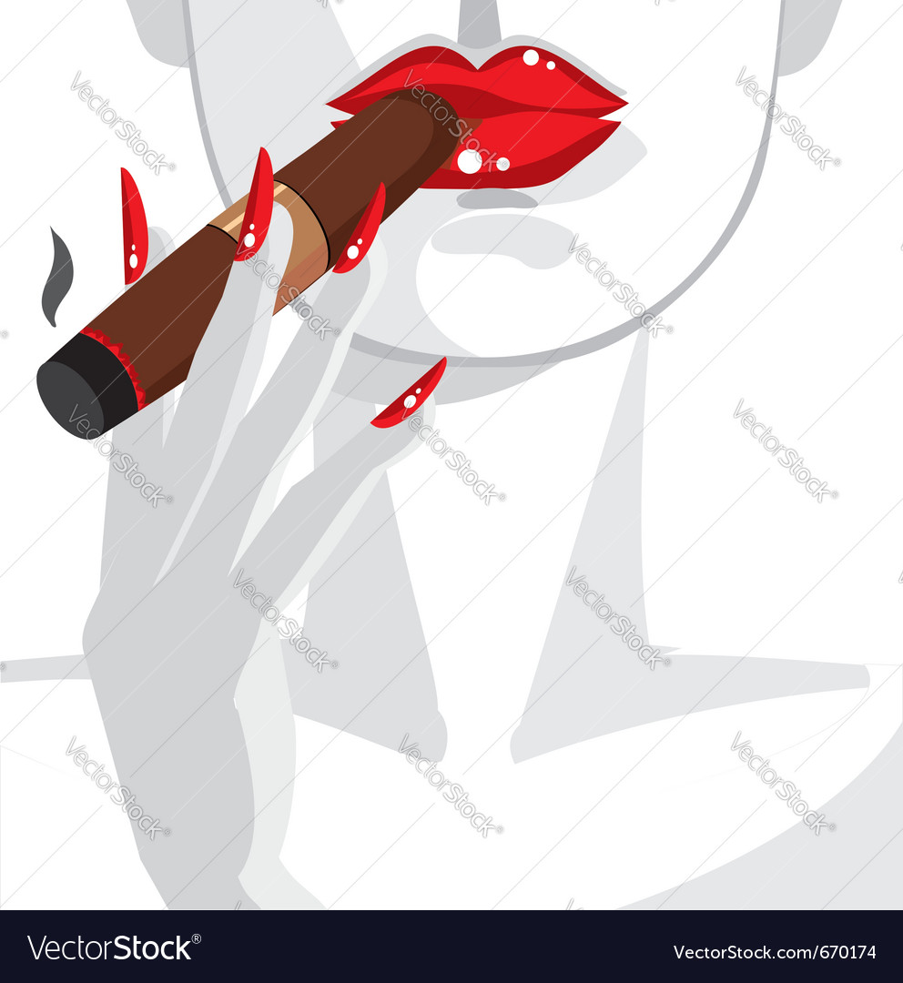 Sexy woman smoking a cigar vector | Price: 3 Credit (USD $3)