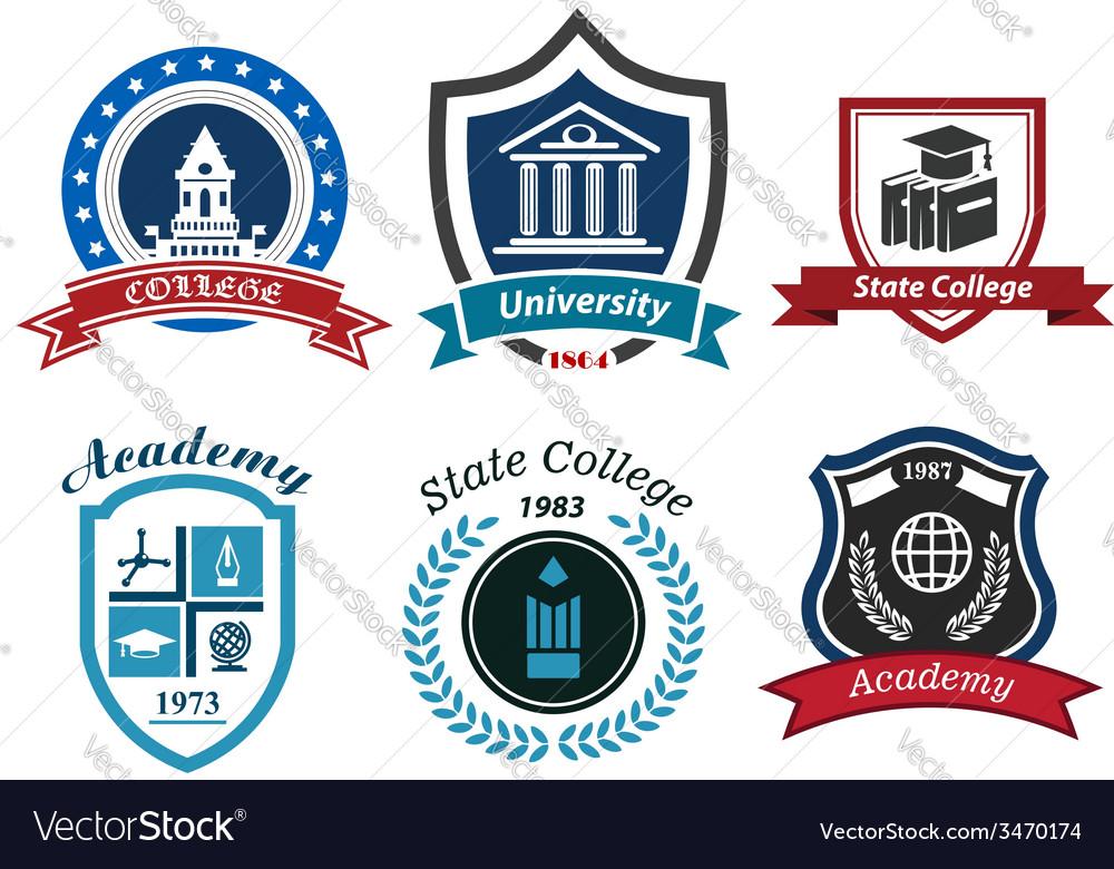 University college and academy heraldic emblems vector | Price: 1 Credit (USD $1)