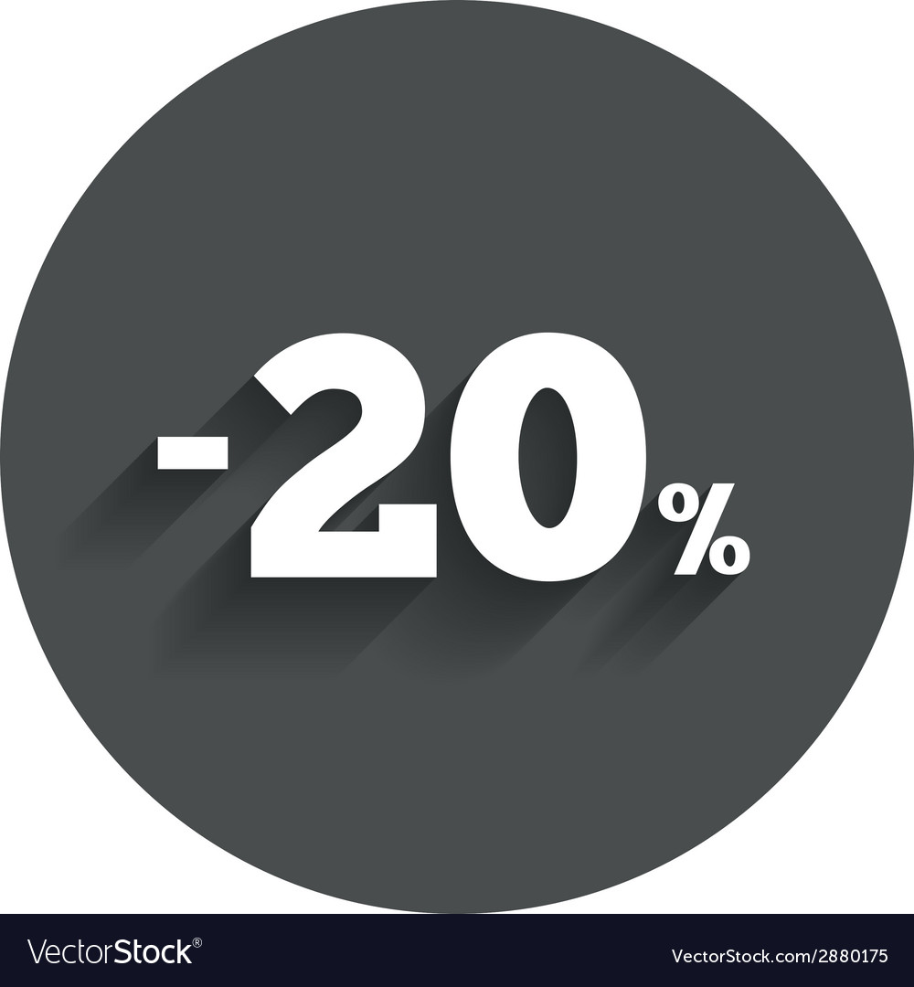 20 percent discount sign icon sale symbol vector | Price: 1 Credit (USD $1)