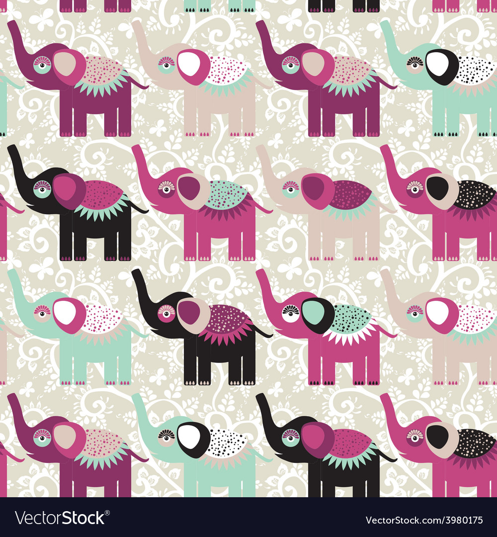 Cheerful seamless pattern elephants and flowers vector | Price: 1 Credit (USD $1)