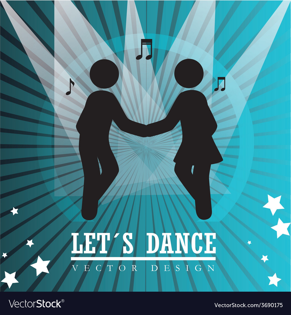 Dance design over blue background vector | Price: 1 Credit (USD $1)