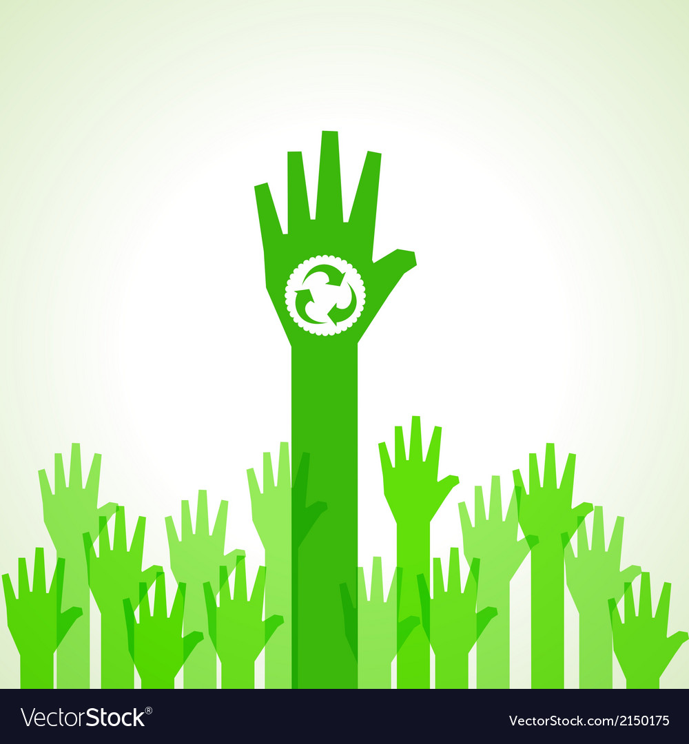 Green helping hand with recycle icon vector | Price: 1 Credit (USD $1)