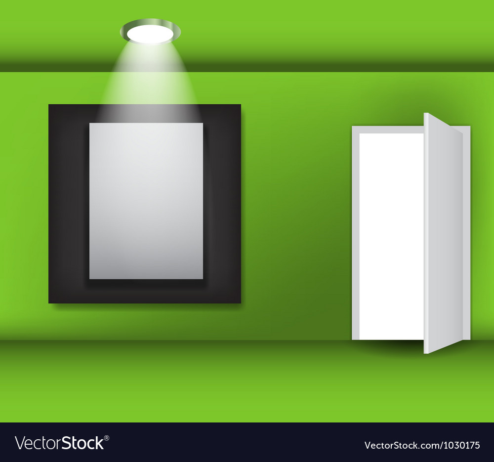 Open white door and white frame in art gallery on vector | Price: 1 Credit (USD $1)