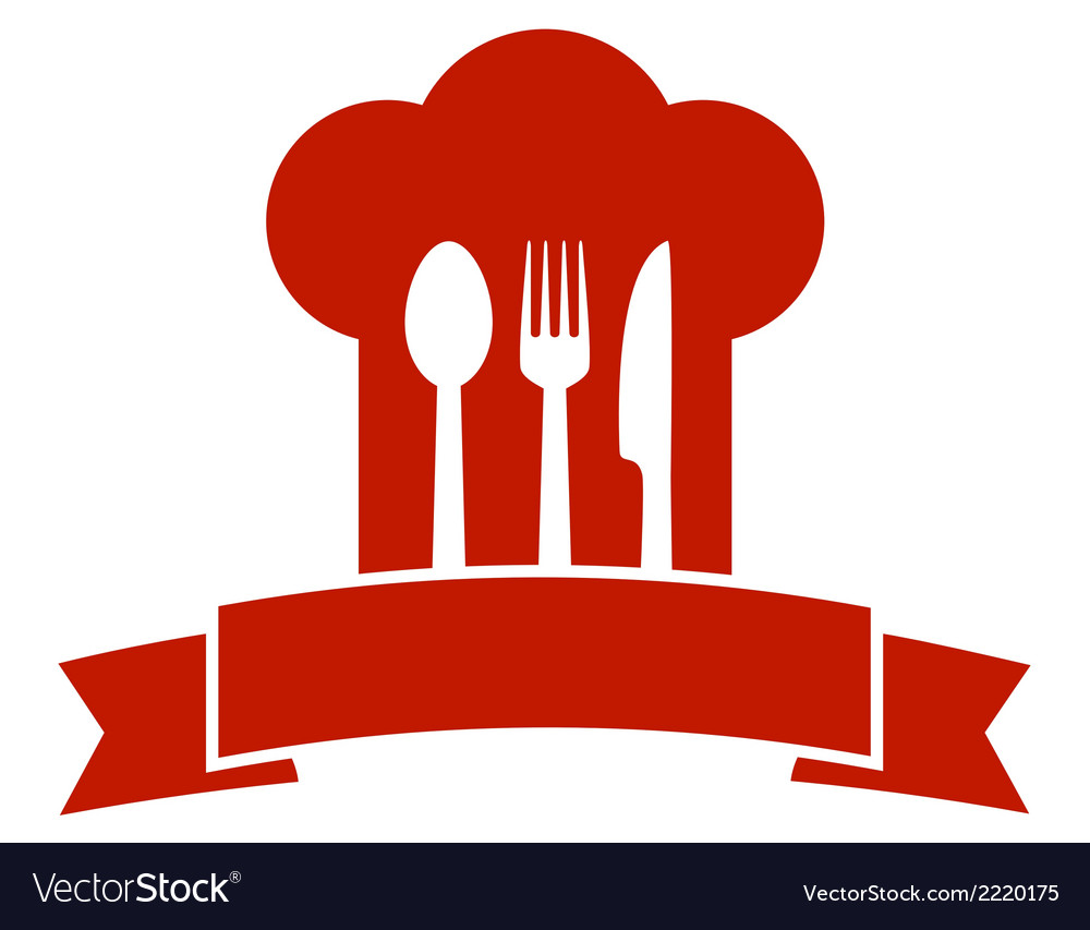 Restaurant icon with red chef hat vector | Price: 1 Credit (USD $1)