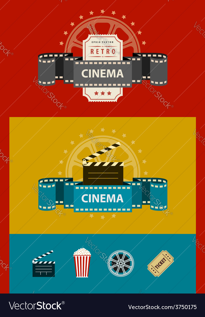 Retro cinematography banners vector | Price: 1 Credit (USD $1)