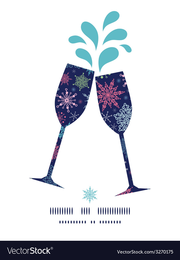 Snowflakes on night sky toasting wine glasses vector | Price: 1 Credit (USD $1)