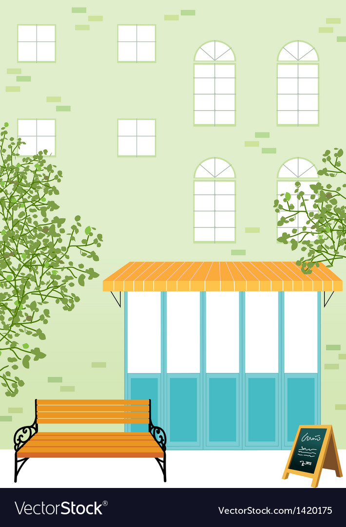 Street bench scene vector | Price: 1 Credit (USD $1)