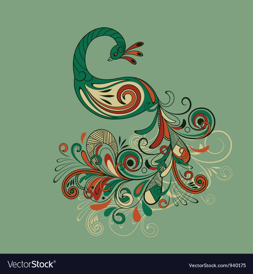 Stylized peacock with detailed tail vector | Price: 1 Credit (USD $1)
