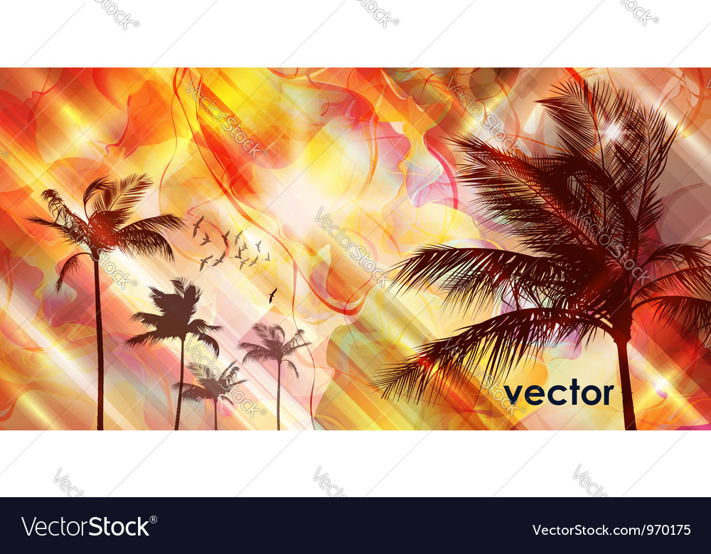 Sunset and palm tree vector | Price: 1 Credit (USD $1)