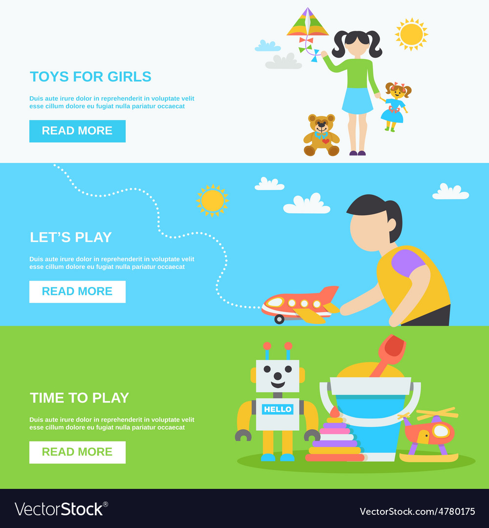 Toys banner set vector | Price: 3 Credit (USD $3)