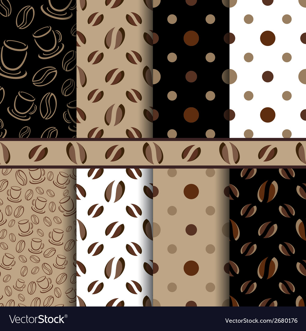 Coffee beans seamless pattern - set vector | Price: 1 Credit (USD $1)
