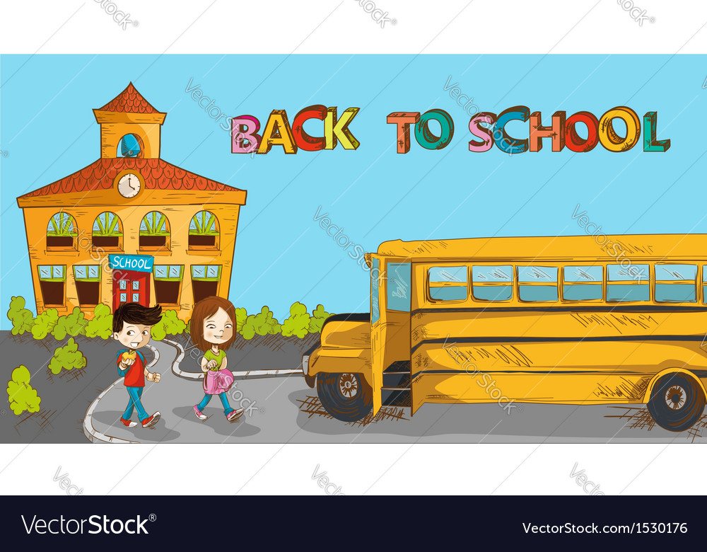 Colorful back to school education cartoon vector | Price: 1 Credit (USD $1)