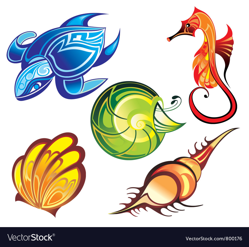 Colorful sea animal vector | Price: 3 Credit (USD $3)
