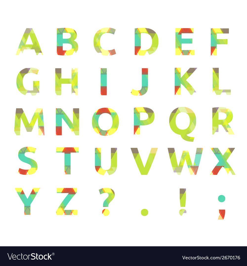 Creative spectral alphabet of geometric paper vector | Price: 1 Credit (USD $1)