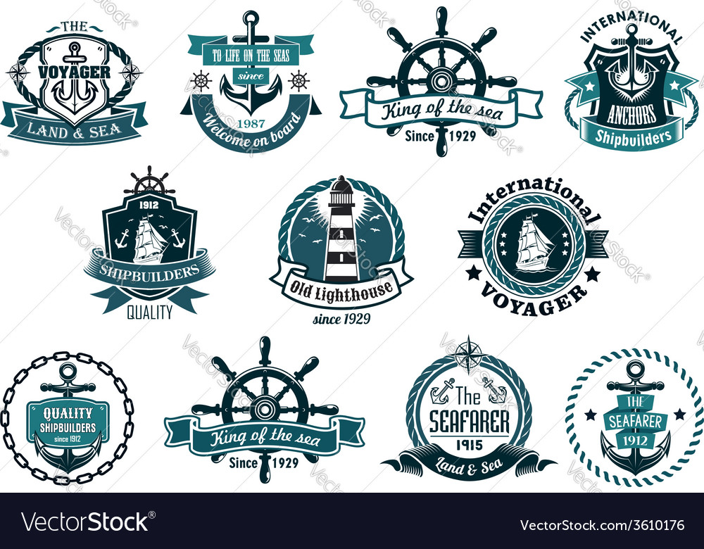 Dark blue nautical labels vector | Price: 1 Credit (USD $1)