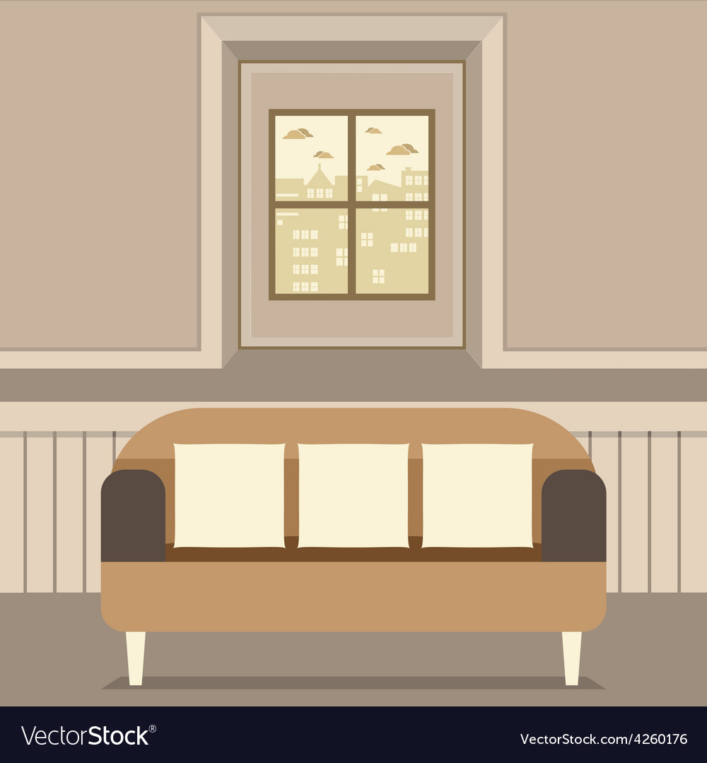 Empty brown couch in front of window vector | Price: 1 Credit (USD $1)