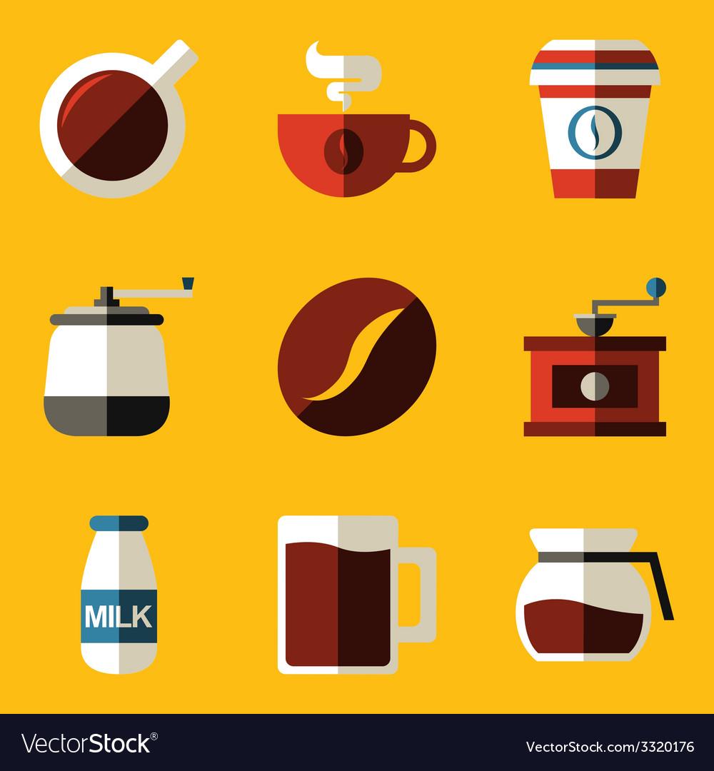 Flat icon set coffee vector | Price: 1 Credit (USD $1)
