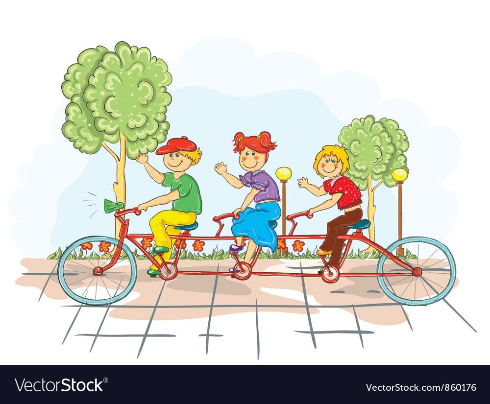 Kids on a bike vector   Price: 3 Credit (USD $3)