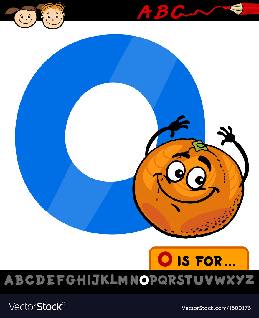 Letter o with orange cartoon vector | Price: 1 Credit (USD $1)