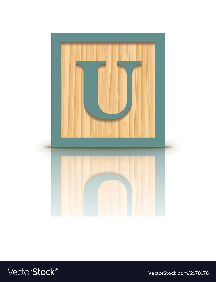 Letter u wooden alphabet block vector   Price: 1 Credit (USD $1)