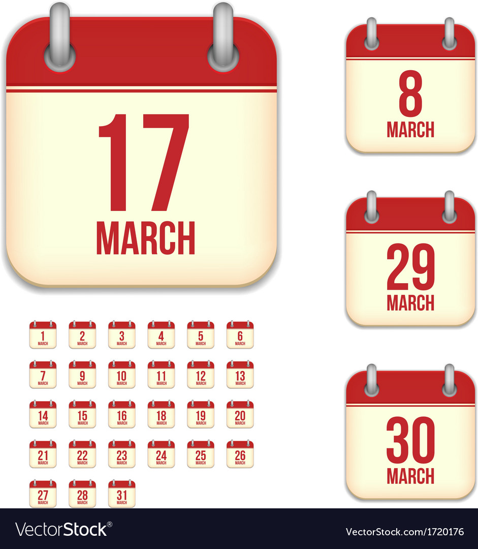 March calendar icons vector | Price: 1 Credit (USD $1)
