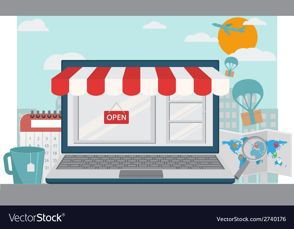 Online shopping background vector | Price: 1 Credit (USD $1)