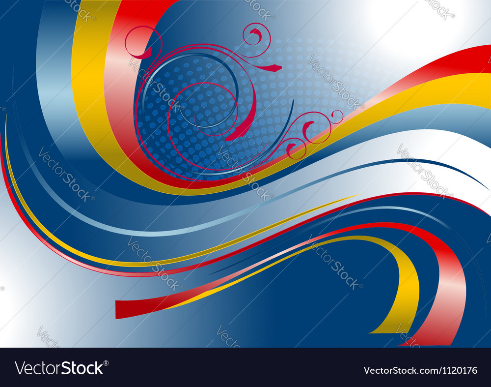 Red and yellow curved stripes on a blue background vector | Price: 1 Credit (USD $1)