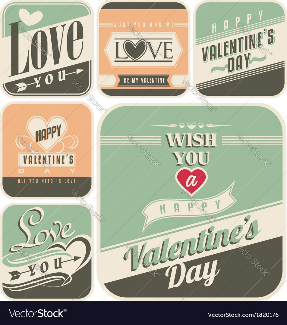 Retro labels for valentines day vector | Price: 1 Credit (USD $1)