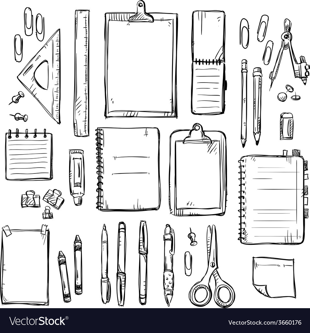 Set of stationery drawings vector