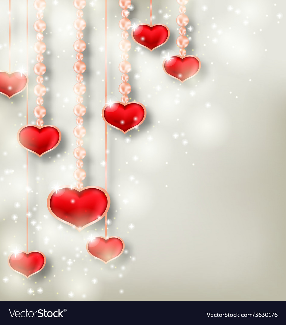 Shimmering background with hanging hearts for vector | Price: 1 Credit (USD $1)